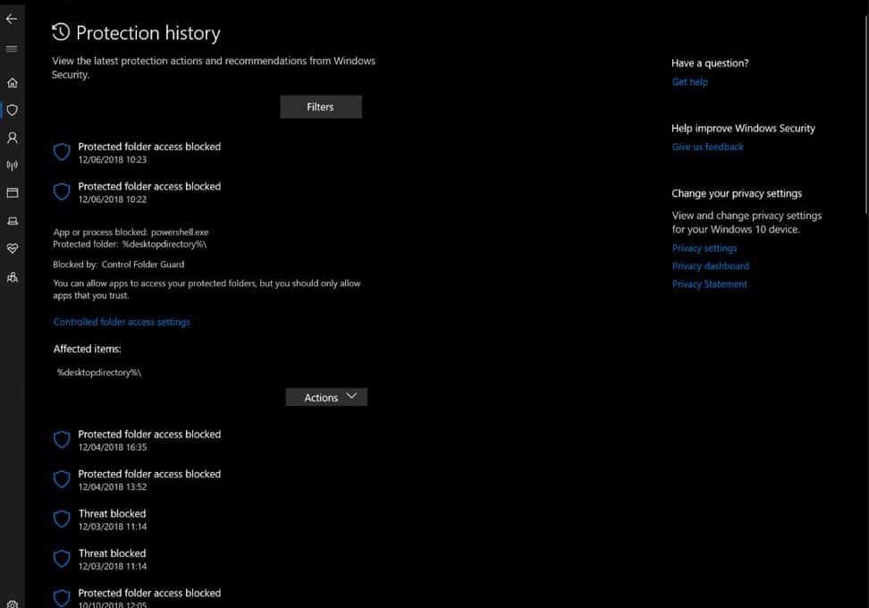 Bảo mật Windows được cập nhật trên bản build 18305