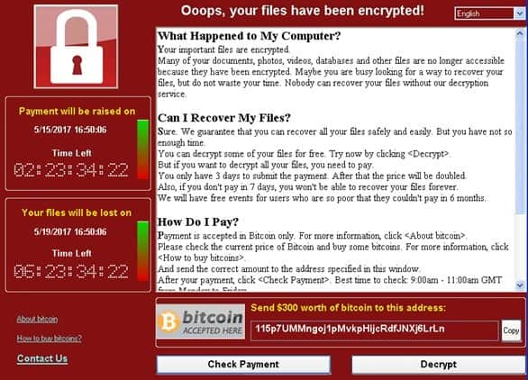 Thông báo tống tiền nạn nhân từ WannaCry