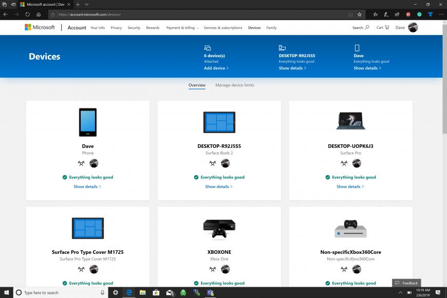 Quản lý thiết bị bằng tài khoản Microsoft