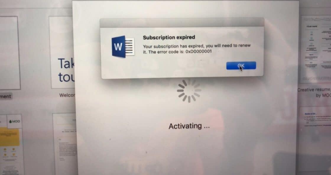 Office 365 đã gia hạn thành công, trên ứng dụng báo Office 365 hết hạn