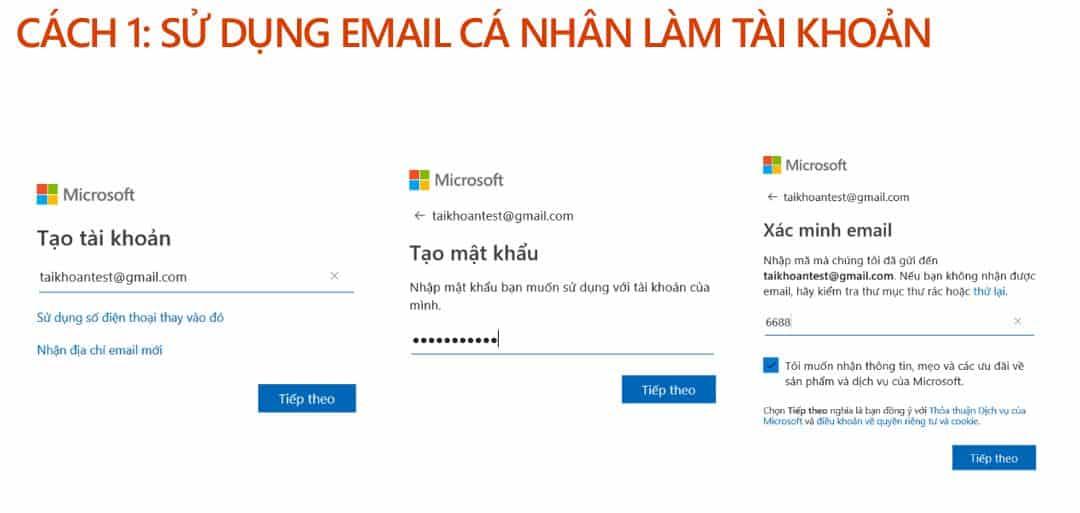 Sử dụng email cá nhân hiện có để đăng ký tài khoản Microsoft