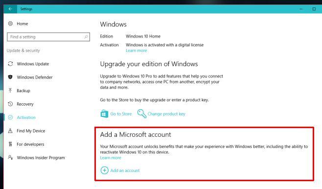 Liên kết bản quyền Windows 10 với tài khoản Microsoft