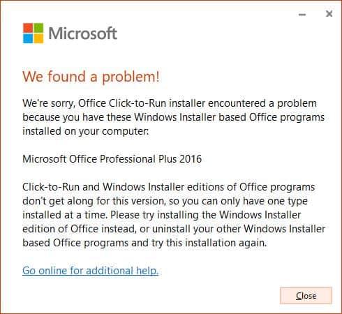 Lỗi cài đặt khi cài Visio, Project và Office trên cùng một máy tính