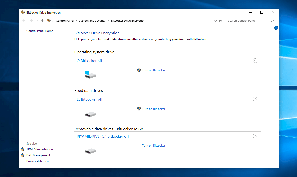 Bitlocker trên Windows 10
