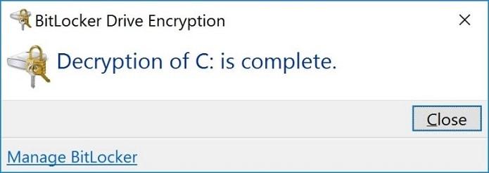 Quá trình giải mã Bitlocker hoàn tất