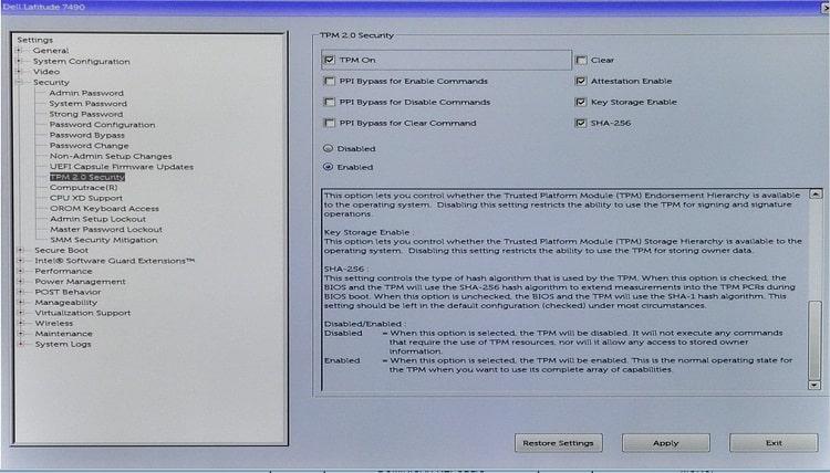 Bật TPM trong Setting BIOS