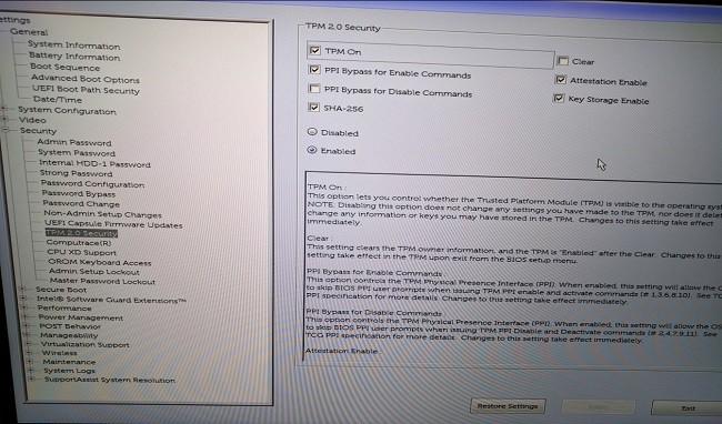 Kiểm tra & bật TPM trong BIOS Settings