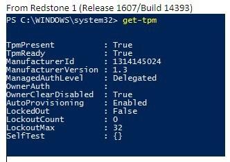 Kiểm tra phiên bản phần mềm TPM trên Windows bản 1607