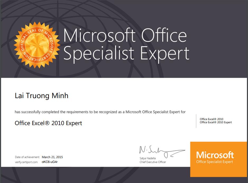 Chứng chỉ MOS Expert thực sự ghi điểm với nhà tuyển dụng