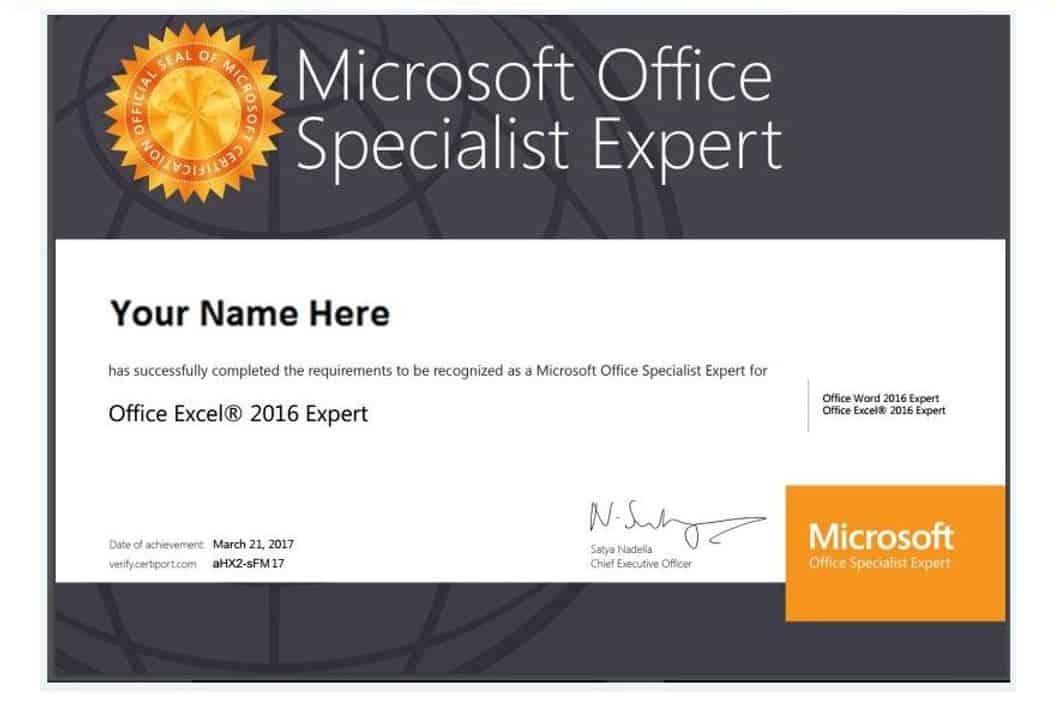 Chứng chỉ Microsoft Office Expert