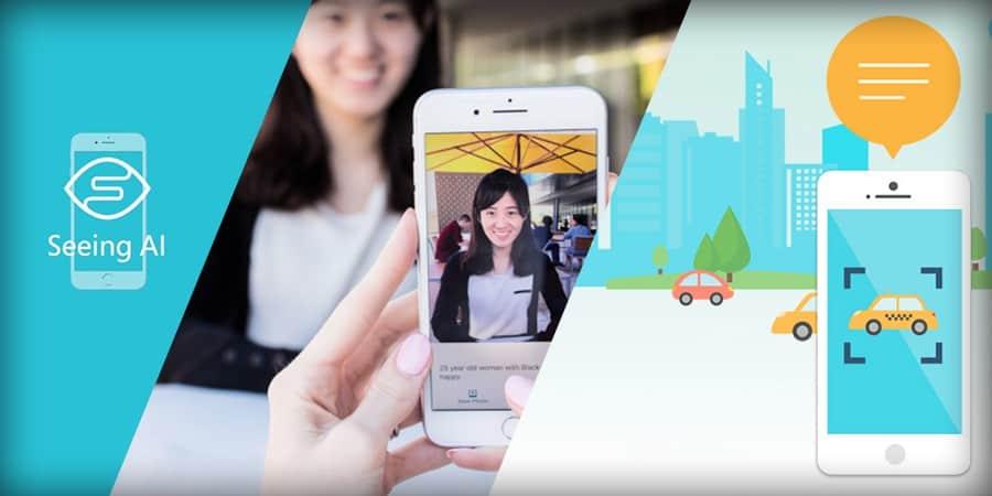 Seeing AI, a woman taking photo