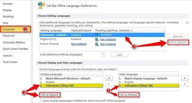 Chuyển ngôn ngữ Office sang tiếng Việt