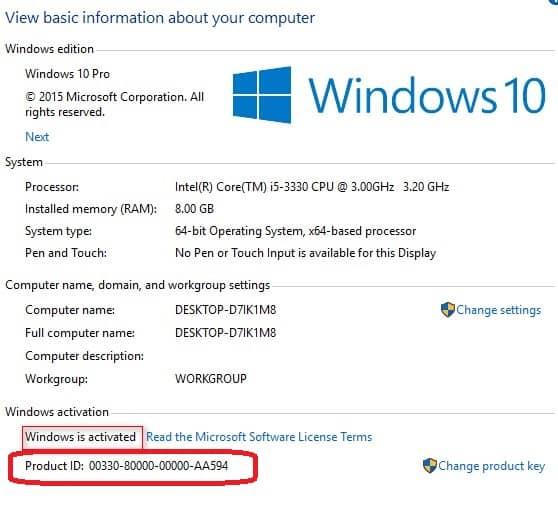 Product ID Windows 10