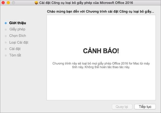 Loại bỏ giấy phép Office trên máy Mac