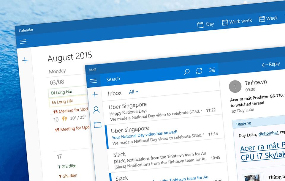 Mail app trên Windows 10