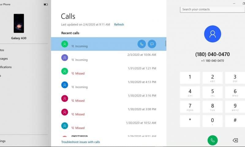 Gọi, nhận cuộc gọi qua ứng dụng Your Phone trên Windows 10