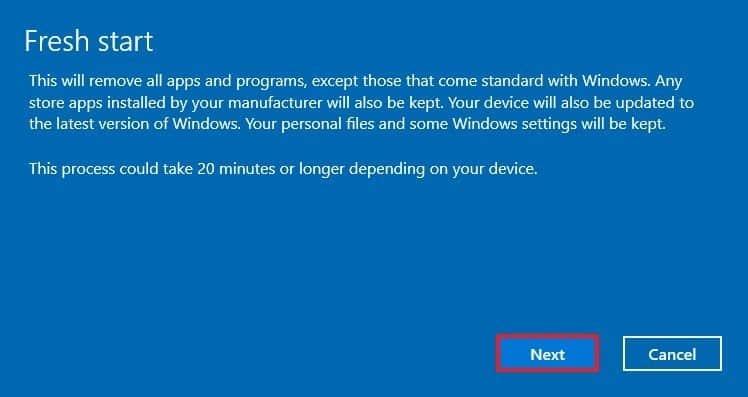 Khôi phục mặc định Windows 10