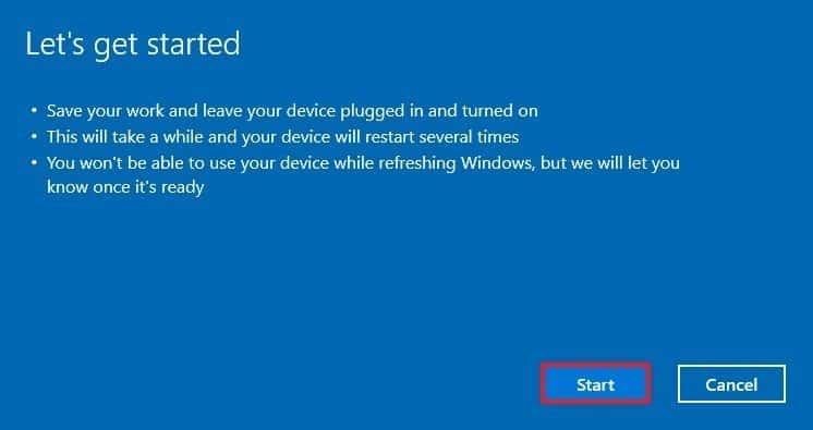 Reset Windows 10.
