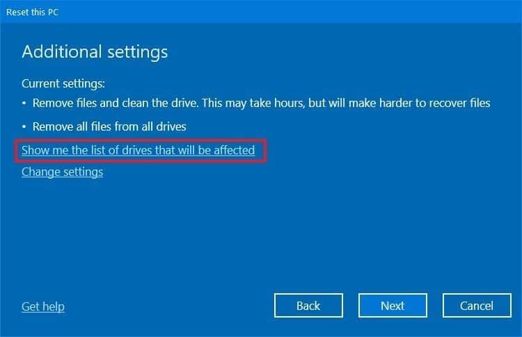 Reset máy Windows 10