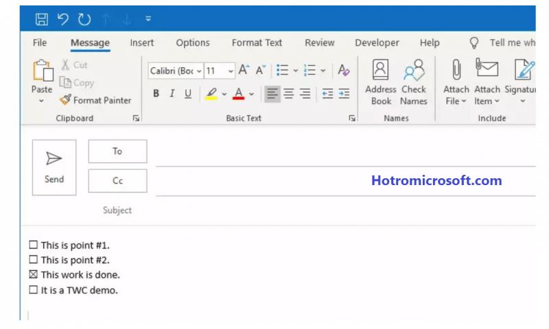 Hướng dẫn chèn Checkbox trên Outlook và Mail app trên Windows 10