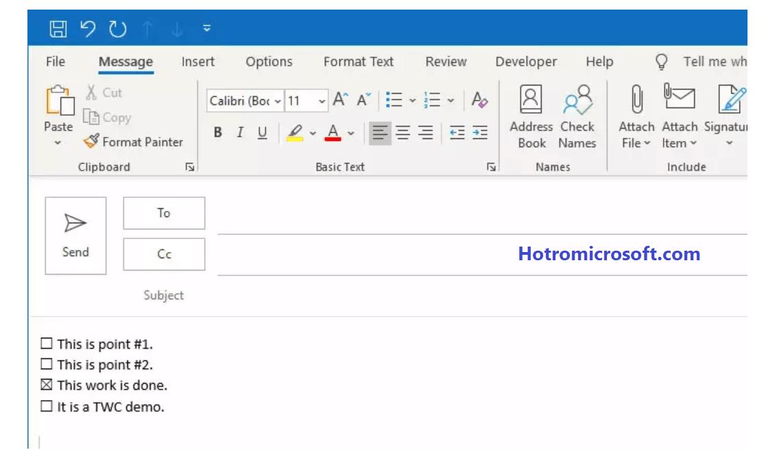 Chèn Checkbox vào mail Outlook