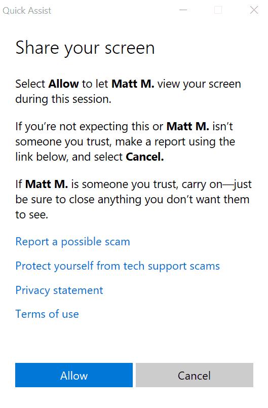 Quick Assist trên Windows 10