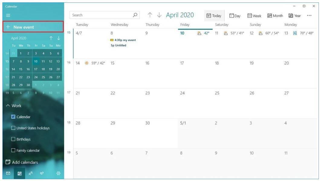 Calendar trên Windows 10