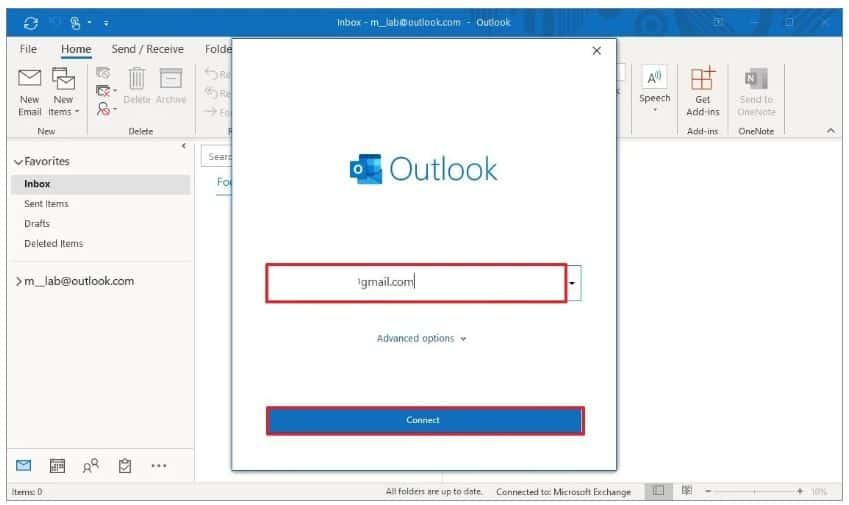 Thêm Gmail trên Outlook