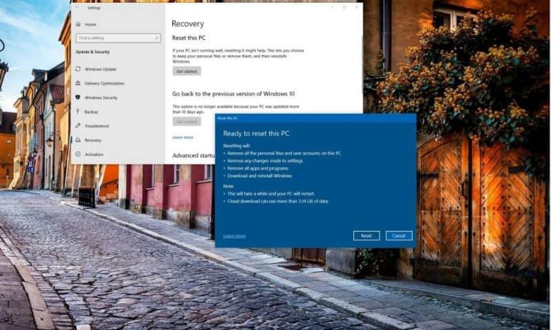 Sử dụng Cloud Reset khôi phục Windows 10 với bản cập nhật 5.2020