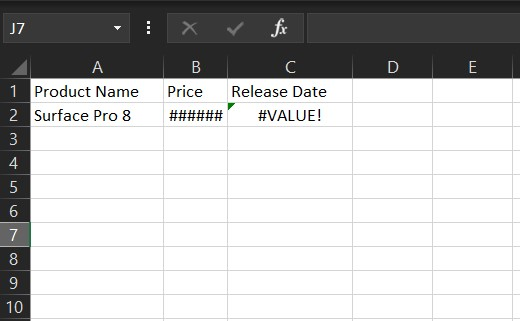 Lỗi Excel #value!
