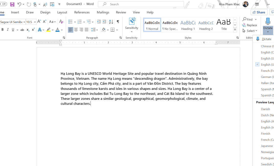 tiện ích trên Microsoft Word