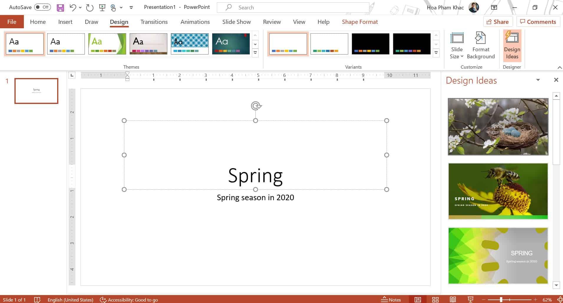 Design Ideas trên PowerPoint