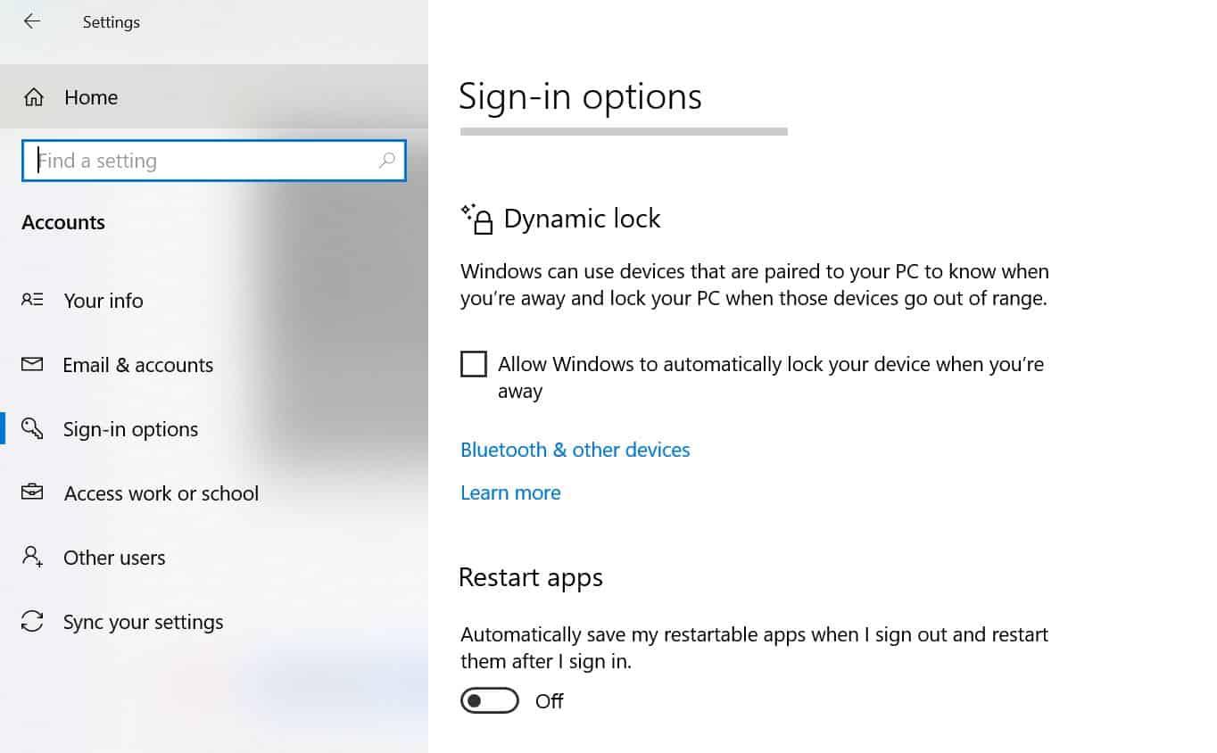 Dynamic Lock trên Windows 10