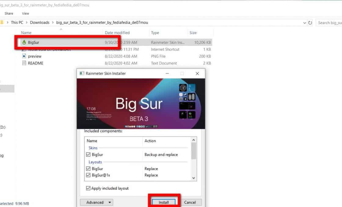Widget Big Sur trên Windows 10