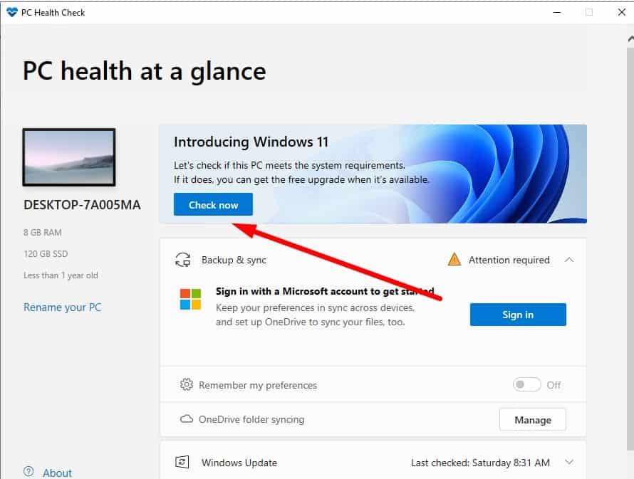 công cụ PC Health Check
